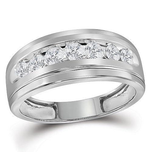 10 kt oro blanco sola fila boda banda anillo de diamantes redondos para hombre carril 3