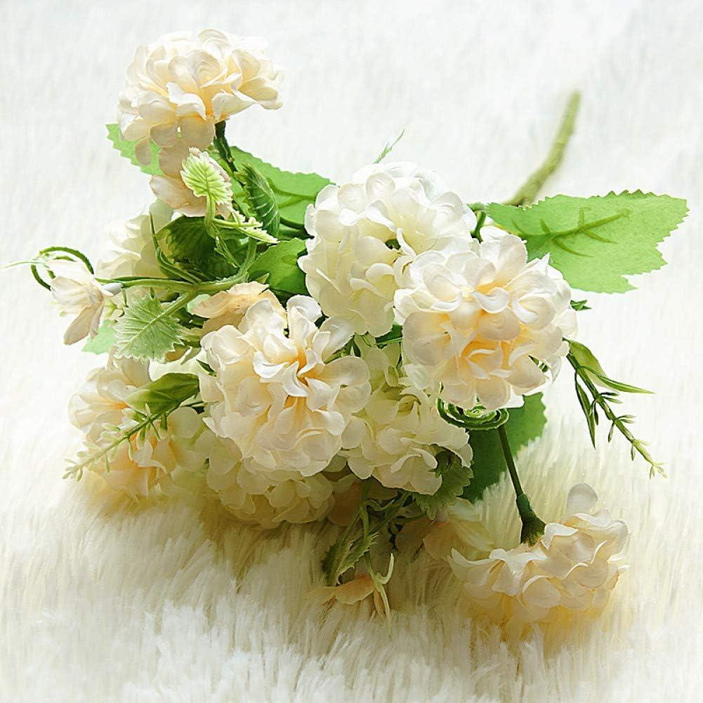 Telihome 9 Cabezas de Flores de hortensias Flores de racimo pequeño Flores Artificiales Flores de Seda decoración de la Boda en el hogar Flores Falsas,champán,10 Piezas