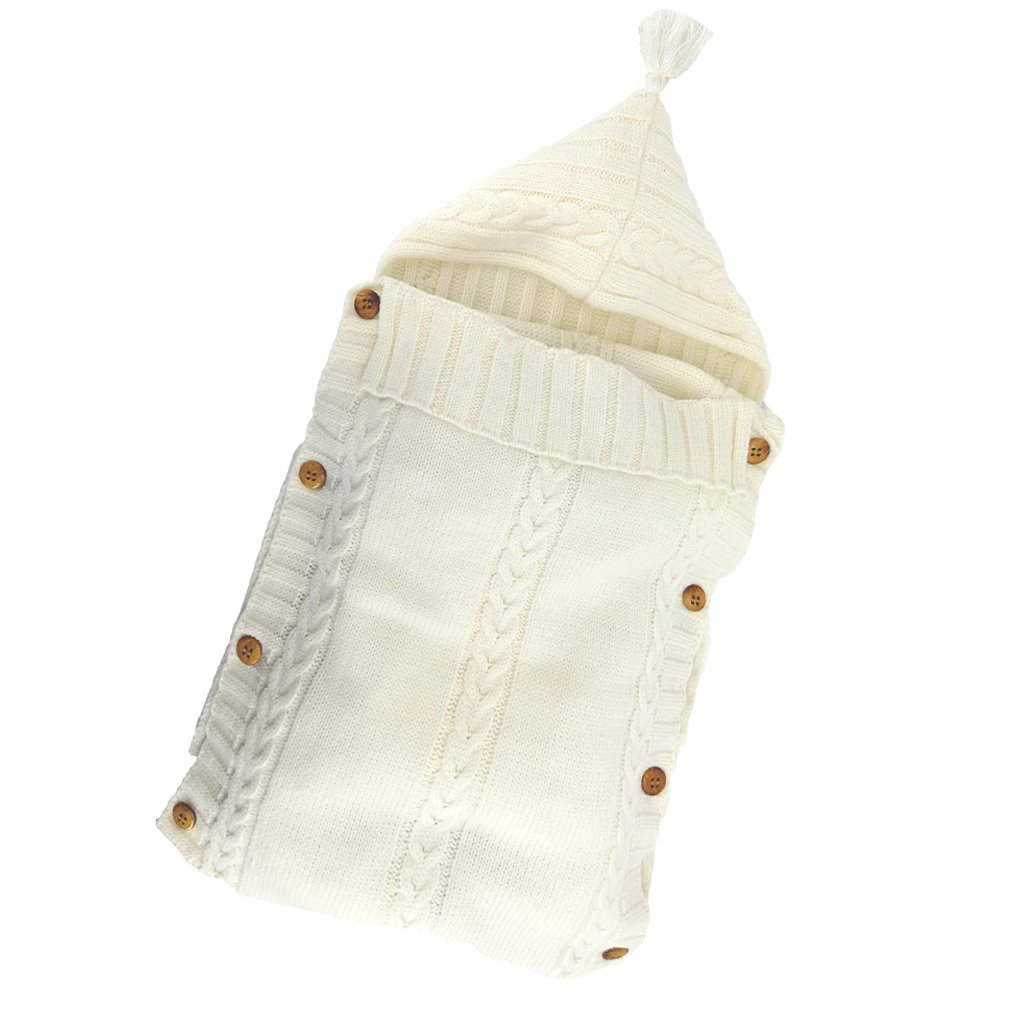 Poplover Baby Wrap Swaddle Blanket Colorful Knit Button Sleeping Bag for 0-12 Month Baby Beige