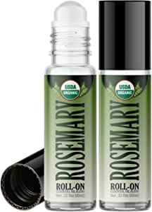 Organic Rosemary Roll On Essential Oil Rollerball (2 Pack - USDA Certified Organic) Pre-diluted with Glass Roller Ball for Aromatherapy, Kids, Children, Adults Topical Skin Application - 10ml Bottle