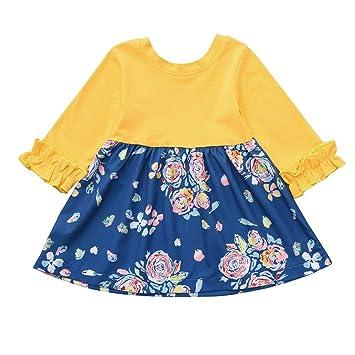 Amazon.com: Vestido de bebé de manga larga con estampado ...
