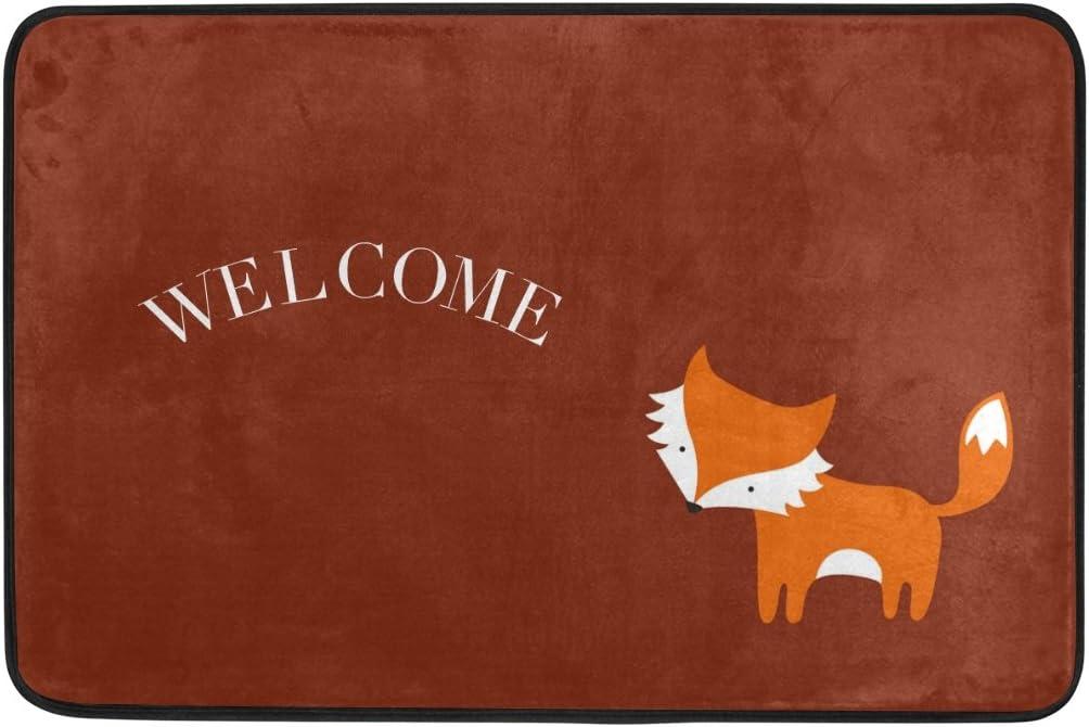 Yochice Non-slip Door Mat Home Decor, Cute Little Red Fox Welcome Durable Indoor Outdoor Entrance Doormat 23.6 X 15.7 Inches