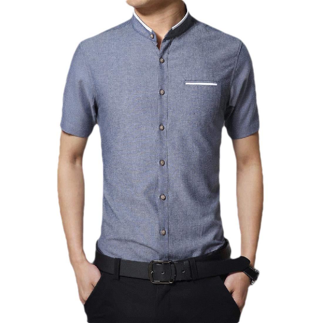 Britainlotus Mens Short Sleeve Casual Dress Shirts Button Down Business Shirt