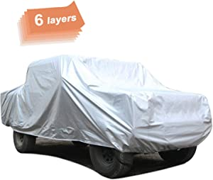 SEAZEN Car Cover 6 Layers, Waterproof Truck Car Cover with Zipper Door, Snowproof/UV Protection/Windproof, Universal Car Covers Breathable Fabric with Cotton (Length Up to 246'')