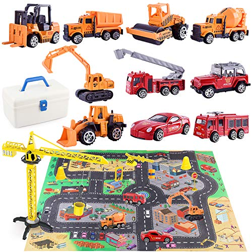 HONYAT Engineering Construction Vehicles Toys Set with Play Mat and Car Storage Box ,10 Alloy Cars Include Fire Trucks -with Accessories and Tower Crane ,Gift for Boys and Girls Ages 3-12.