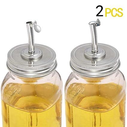 4031ae046958 Mason Jar Pour Spout Lids,Mason Jar Oil Infusions Lids Liquor Oil Pour  Spout Open Closed Dispenser with Caps Regular Mouth Bottle Cap Jar Hole Lid