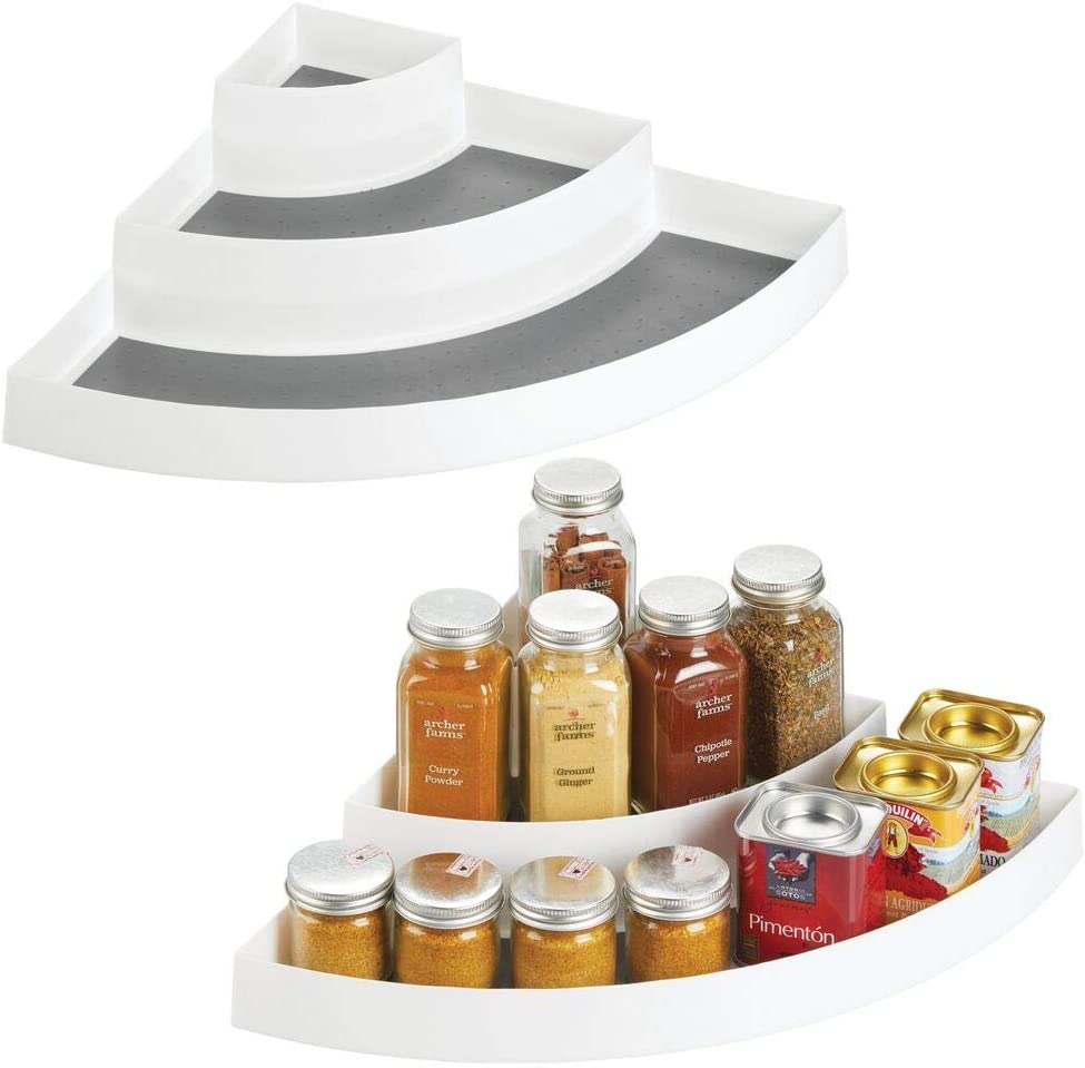 mDesign Plastic Spice/Food Kitchen Cabinet Pantry Corner Shelf Organizer - 3 Tiers - Compact Caddy Rack - Holds Spices/Herb Bottles, Jars for Shelves, Cupboards, Refrigerator - 2 Pack - White/Gray