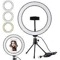 Ring Light Selfie Anel com Mini Tripe Led 10 Polegadas Profissional Mesa Youtuber Make