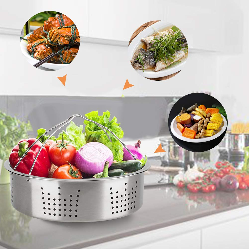 Accessories Set Compatible with 8 Quart Instant Pot Only with Sealing Rings, Tempered Glass Lid, and Steamer Basket. by Acnusik (Image #4)