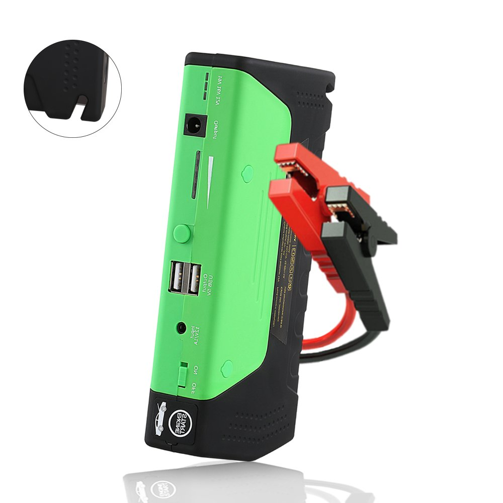 Car Jump Starter 600A Peak Up to 6.0L Gas or 4.5L Diesel Engine Tire Inflator Premium Portable Phone Power Bank Auto Battery Charger Pack Booster with Dual Quick Charge Output Built in LED Light & USB
