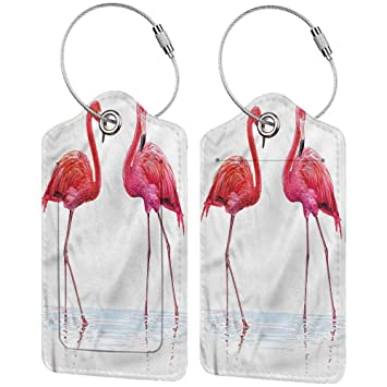 Pink Flamingos Leather Luggage Tags Personalized Privacy Cover With Privacy Flap