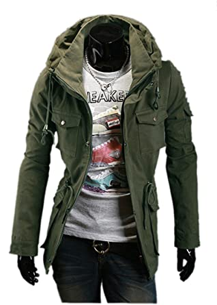 Fine Mens Military Style Hipster Hooded Long Sleeve Jacket Coat at ...