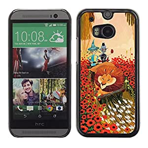 """For HTC One ( M8 ) Case , León Flores de dibujos animados del cuento de hadas del arte Amigos"""" - Diseño Patrón Teléfono Caso Cubierta Case Bumper Duro Protección Case Cover Funda"""