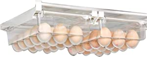 HOMOKUS 2 Pcs Egg Fridge Organizer, Refrigerator Organizer Bins, Food Grade Plastic Material, Adjustable Length, Suitable for Fridge of Most Size, 15 Groove Design for Each, 30 Eggs Store in Total
