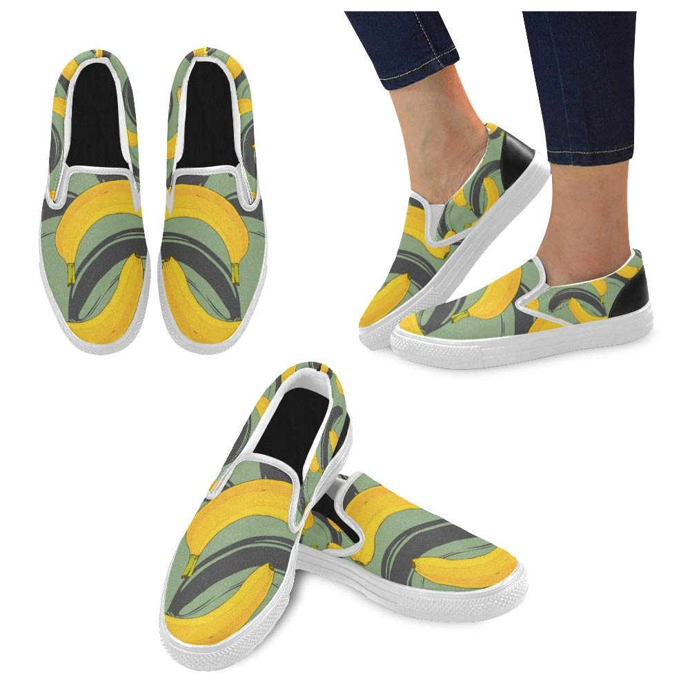 Canvas Shoes Summer Banana Pattern On Green Canvas Slip-on Casual Printing Comfortable Low Top Sport Tennis Shoes