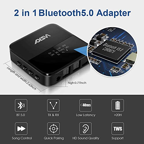 Wsky Bluetooth 5.0 Transmitter Receiver aptX HD, aptX Low Latency B20 Wireless Audio Adapter for Car TV Home PC Stereo, Pairs Two Headphones, LED Indicator, Optical TOSLINK 3.5mm AUX RCA