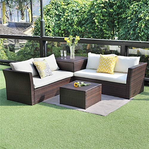 Wisteria Lane Outdoor Patio Furniture Set, 4 Piece Sectional Sofa Couch Conversation Set Loveseat with Storage Table All-Weather Brown Wicker,Beige Cushions (Best Price Rattan Garden Furniture)