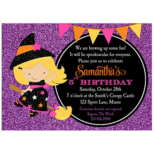 Halloween Party Invitation - Halloween Invitation - ANY Hair Color/Skin Tone - Witch Sparkle Delight Collection ()