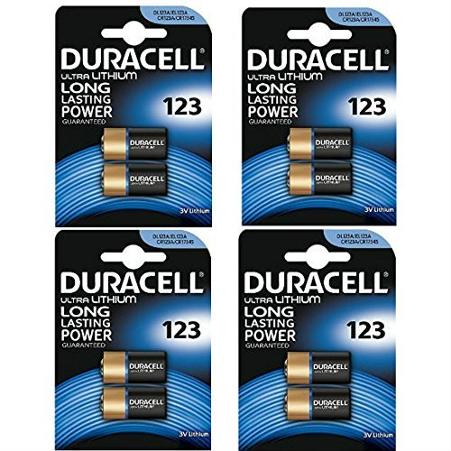 -[ 8 x CR123 3V Duracell Ultra Lithium Photo Battery - DL123 - EL123A - CR123A - CR17345  ]-