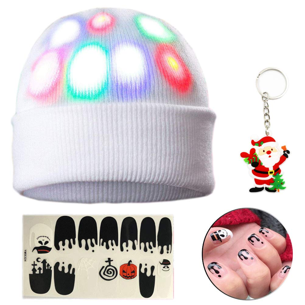 Led/Hat Led/Light/Hat Hat/Led/Light Unisex 7 LED Knitted White Flashing Hat//Rave Halloween Costume Party Favors Christmas and Jogging Walking Bicycling Gifts Sporting Ball Games Best Choice