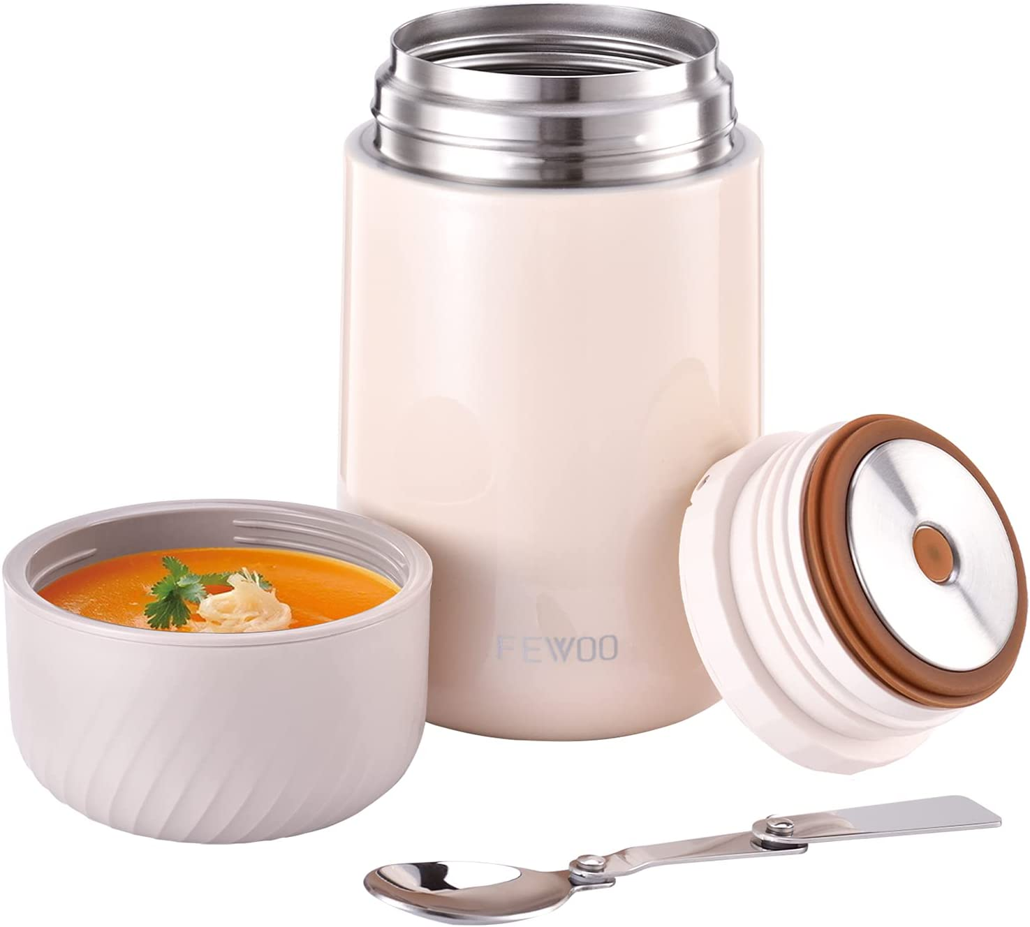 Food Jar - 27oz Vacuum Insulated Stainless Steel Lunch Thermos,Leak Proof Soup Containers with Folding Spoon for Hot or Cold Food (White)