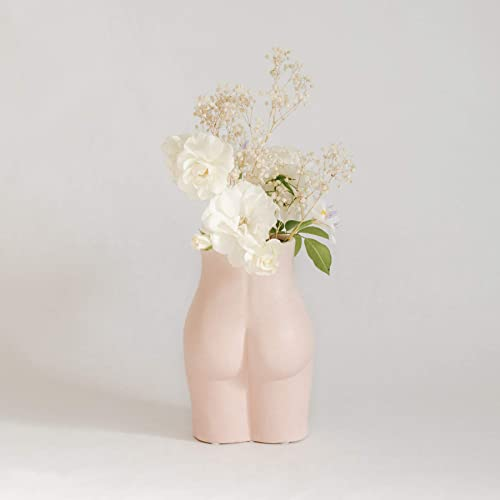 BASE ROOTS Tall Body Flower Vase, Modern Boho Chic Home Decor, Cute Butt Vases, Female Form Accent Piece for Living Room, Indoor, Shelf, Desk, Dorm, or Table Tall Bottom, Speckled Pink