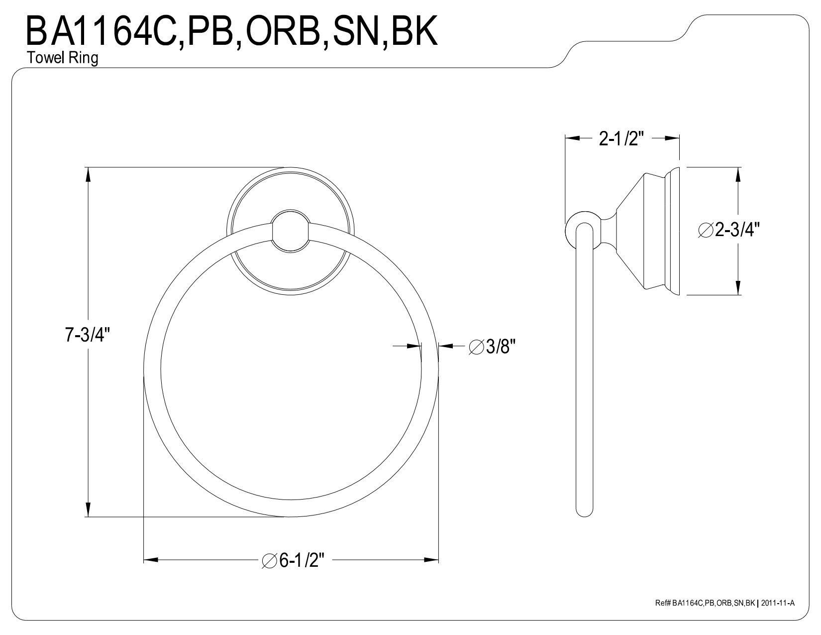 Kingston Brass BA1164ORB Vintage 6-Inch Towel Ring, Oil Rubbed Bronze