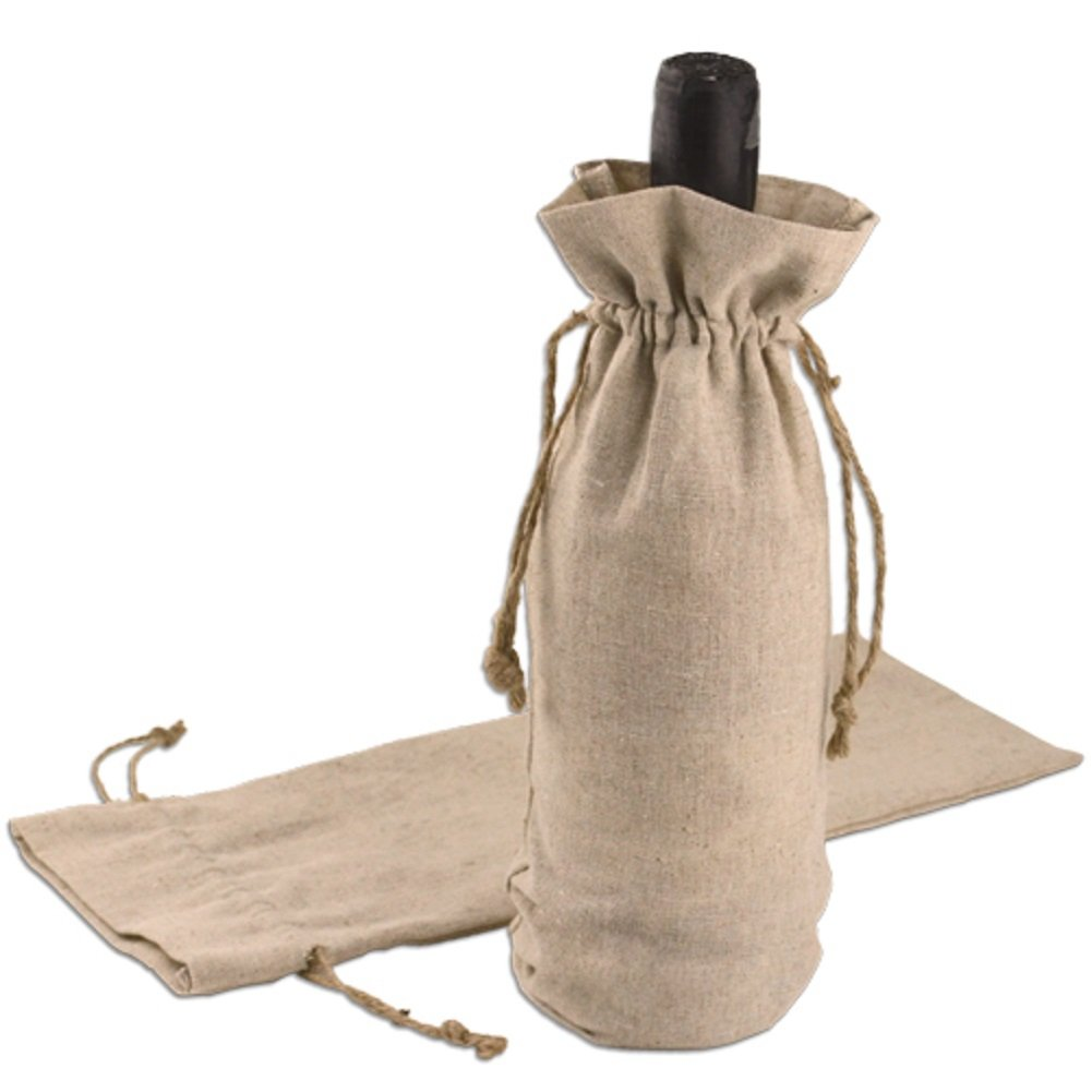 Linen Wine Bag Reusable Natural Drawstring Gift Pouch with Jute Cord Pack of 12