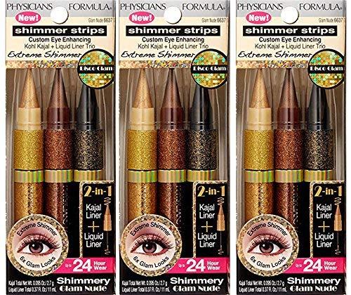 Physicians Formula Strips Custom Eye Enhancing Extreme Shimmer Kohl Kajal Plus Liquid Liner Trio Disco, Glam Nude ( PACK OF 3)