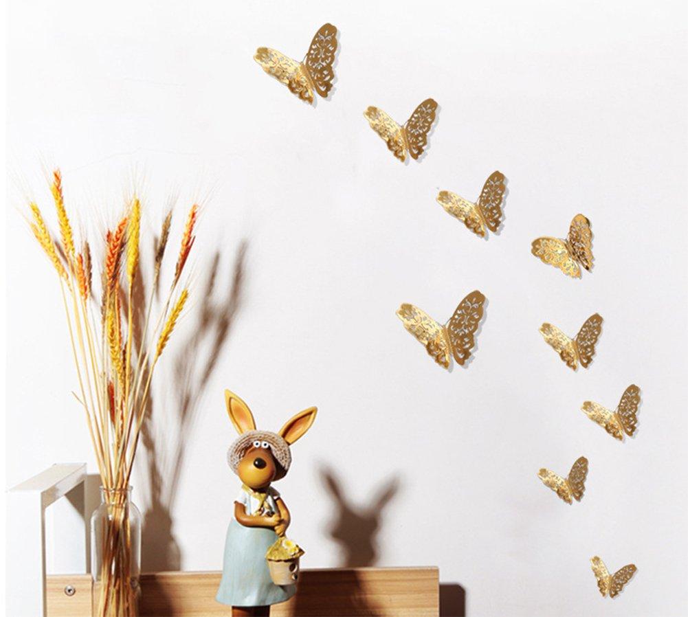 Dosige 12 Pcs Pegatinas de pared decorativas Papel pintado de habitaci/ón de ni/ños Pegatinas de pared decorativas para la cocina Fondo de pantalla de dormitorio Etiqueta de la pared de oro de la mariposa a cielo abierto Dorado 8-12cm