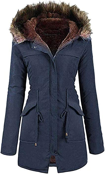Details about UK Women's Winter Faux Fur Coat Military Jacket Thick Warm Parka With Fur Lining