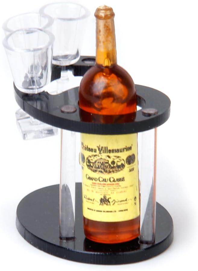 Dollhouse Un Juego de Champán con Una Botella de Champán Soporte y Vasos en Miniatura