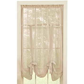 Solid Sheer 58u0026quot;x64u0026quot; Rod Pocket Tie Up Shade Window Curtain ...