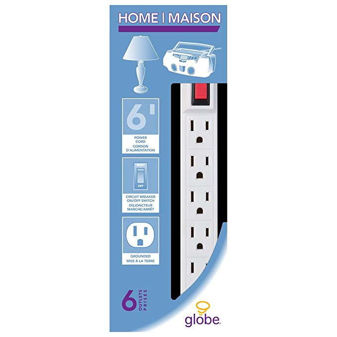 Globe Electric Outlet Power Strip Foot Cord White Finish