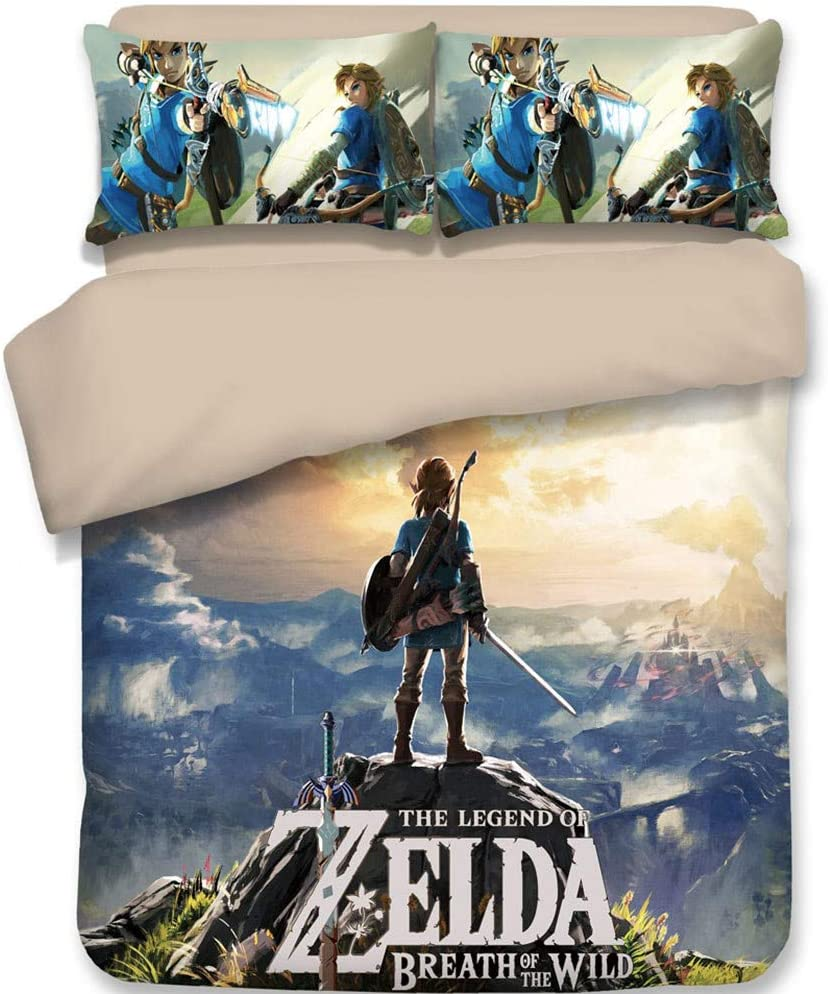 """Chutoral 3pcs The Legend of Zelda: Breath of The Wild Duvet Cover Set, Ultra Silky Soft Premium Bedding Collection, 1x Comforter Cover and 2X Pillowcase(Full Size: 89""""x79"""")"""