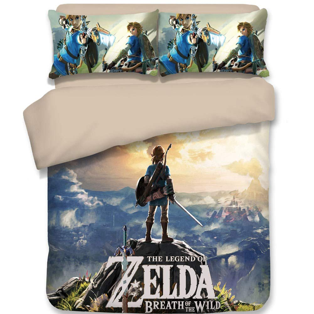"Chutoral 3pcs The Legend of Zelda: Breath of The Wild Duvet Cover Set, Ultra Silky Soft Premium Bedding Collection, 1x Comforter Cover and 2X Pillowcase(Queen Size: 89""x89"")"