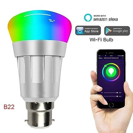 Lanceasy Bombilla LED de luz Inteligente Wi-Fi, Bombilla de luz Inteligente WiFi Regulable