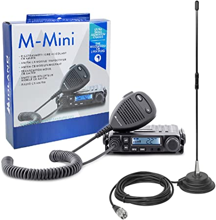 PNI CB Radio Kit de Midland M de Mini con Encendedor de Cigarrillos de Conector Incluidas Extra 40 CB de Antena
