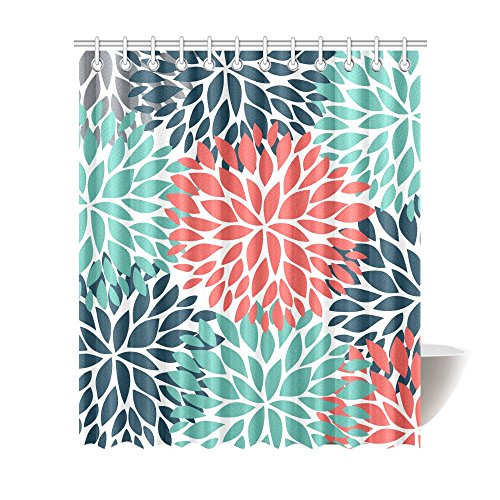 InterestPrint Dahlia Pinnata Flower Teal Coral Gray Waterproof Shower Curtain Decor Fabric Bathroom Set With Hooks 72Wide X 84Height Inches