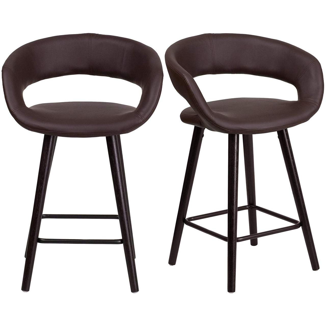 """KLS14 Set of 2 Contemporary 23.75"""" Counter Height Bar Stools Rounded Low Back Design Commercial Dining Chairs Home Office Furniture, Brown Vinyl/2364"""