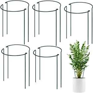 WOCLOER Garden Plant Support, 10pcs Green Half Round Metal Plant Stakes Ring, Border Support, Plant stem Support Cage for Tomato, Rose, Vine