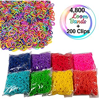 Loom Rubber Bands - 4800 pc Refill Value Pack with Clips (8 Unique Rainbow Colors - 600 of Each) Compatible with Rainbow Looms, Great Gift for Girls