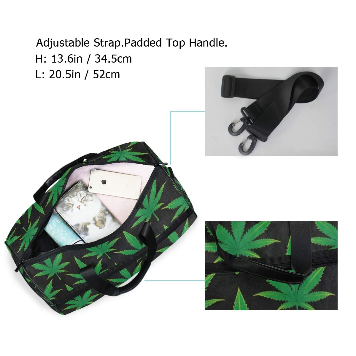 Cannabis Mariguana Leaf Large Canvas shoulder bag with Shoe Compartment Travel Tote Luggage Weekender Duffle Bag