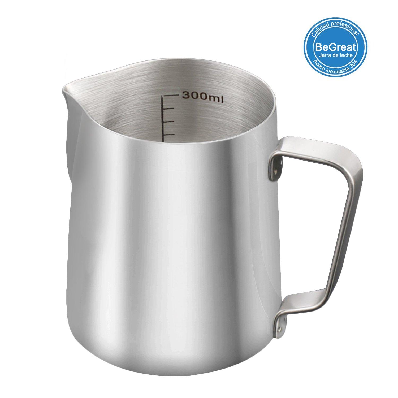 Jarra de leche de acero inoxidable, BeGreat jarra graduada de 350ml, ideal para leche espumando y arte de capuchino, latte