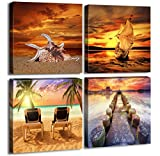 Ocean Sunset Canvas Wall Art Beach Home Decor Painting 12'' x 12'' x 4 Pieces Orange Seascape Canvas Art Sea Shore Nature Picture Modern Artwork Sailboat Framed Ready to Hang for Home Office Decoration