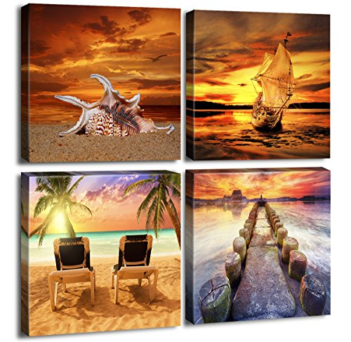 Ocean Sunset Canvas Wall Art Beach Home Decor Painting 12'' x 12'' x 4 Pieces Orange Seascape Canvas Art Sea Shore Nature Picture Modern Artwork Sailboat Framed Ready to Hang for Home Office Decoration by PIXEL POWER
