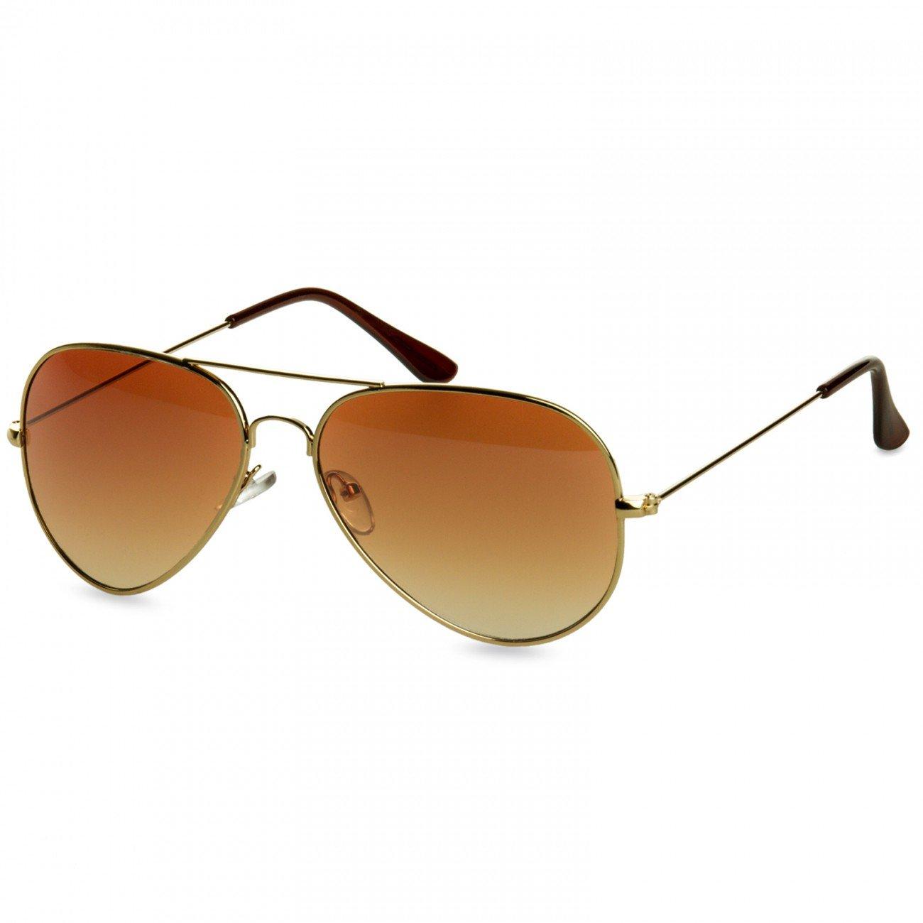 CASPAR PREMIUM Unisex Classic Aviator Pilotenbrille / Sonnenbrille - viele Varianten - SG032, Farbe:silber / grün gold verspiegelt