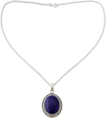 natural Gemstone Jewelry sterling silver Genuine Dark Blue Lapis Lazuli Necklace Beaded lapis necklace