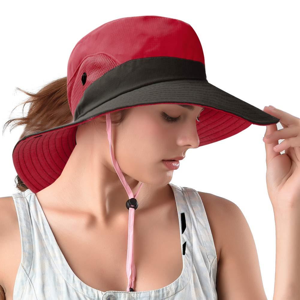 Amazon.com  Rosoz Ponytail Sun Hats Foldable Mesh Wide Brim Beach Fishing  for Women (Blue)  Clothing f287b01de73