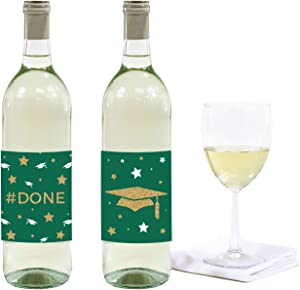 Andaz Press Emerald Forest Green and Gold Glittering Graduation Party Collection, Wine or Apple Cider Bottle Labels, 8-Pack
